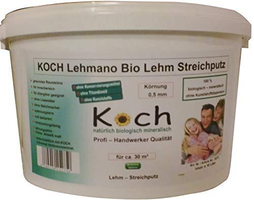 Koch Lehmano Lehm Streichputz 10 Ltr. Lehmstreichputz putz von der Rolle Lehmputz Lehmdekoputz Putz Lehmrollputz (Körnung 1,0 mm)