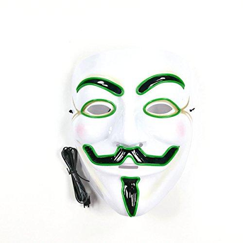 Kostüm Halloween Anonymous (v für vendetta - maske anonymous - maske hat guy - fawkes halloween licht unisex - maske 8 farben mit el glühenden draht (dark)