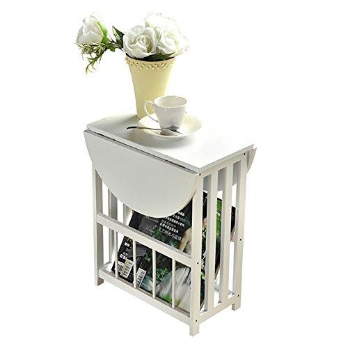 D&L Wasserdicht Folding Beistelltisch, Oval Sofatisch Schlafzimmer Nachttisch Wohnzimmer Couchtisch Moderne Vintage Telefontisch-Weiß 56.5x49cm (Oval Couchtisch)