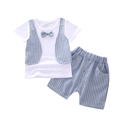 wuayi  Baby Jungen Kleidung Set, Kind Jungen Gentleman Streifen Bowknot Kurzarm T-Shirt Shorts Tops Hemd Hosen Outfits 6 Monate - 3 Jahre
