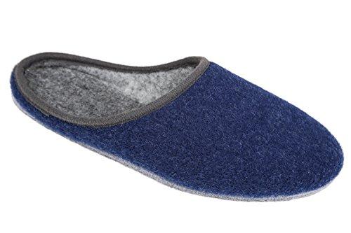 gibra® Deutsche Filzpantoffeln mit Filzsohle, blau, Gr. 46
