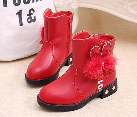 Ohmais Enfants Fille Chaussure bottes et bottines Rouge