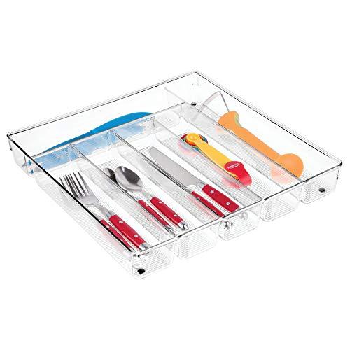 iDesign Linus Besteckkasten, großer Schubladen Besteckeinsatz aus Kunststoff mit sechs Fächern, durchsichtig