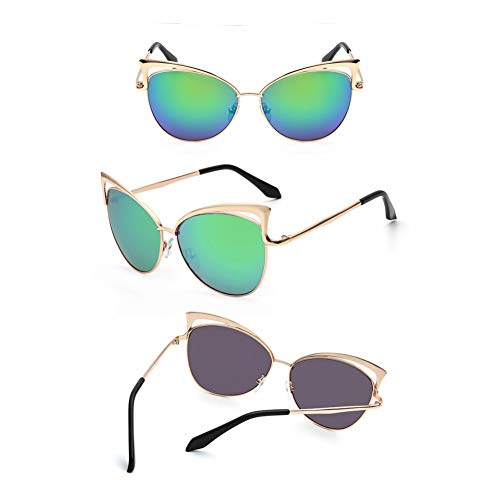 CCGKWW Gafas De Sol Mujer Sexy Damen Cat Eye Sonnenbrille High Fashion Frauen Vintage Beschichtete Spiegel Sonnenbrille Für Weibliche Uv400