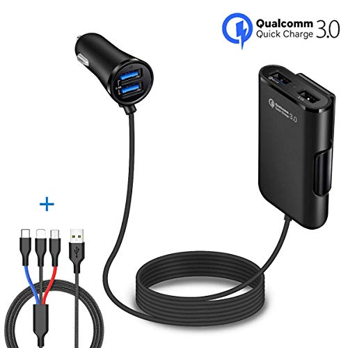 ZDZHU Auto-Ladegerät Quick Charge QC 3.0 für Front/Back Seat Charging Zigarettenanzünder-Adapter mit 4 USB-Ports Kfz-Ladegeräte für Android-iOS-Smartphones/Gaming-Geräte Gps-adapter Home Wand -