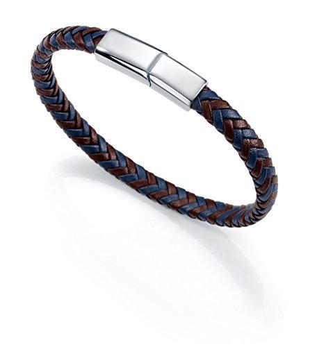 Imagen de pulsera acero,piel azul y marron sr