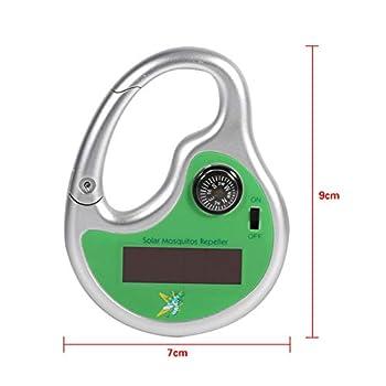 ZHANGY Type de Crochet électronique portatif extérieur de répulsif de Moustique Tueur ultrasonique Solaire de Tueur d'insecte de Moustique avec la Boussole,Green