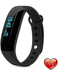 Bracelet Connecté, EIVOTOR Bluetooth4.0, Smart Fitness Bracelet, Étanche IP65 Tracker d'Activité, Mesure de Fréquence Cardiaque /Compteur de Calories/Moniteur de Sommeil/Alarme/Notification par Appel et SMS, GPS Course à Pied, Compatible avec Parfaite IOS et Android