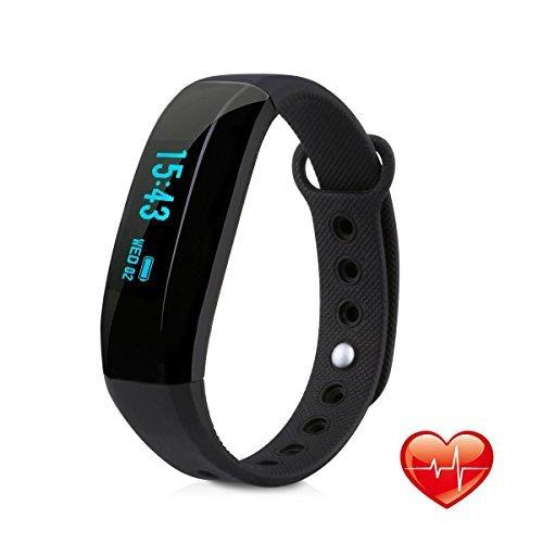 EIVOTOR Fitness Armband IP65 Achtivity Tracker Smart Sport Watch BT 4.0 Smartband Wasserdicht Fitnessarmband mit Pulsmesser Schlafmonitor Schrittzähler und Anrufer ID Benachrichtigung für iOS Android Handy Smartphone