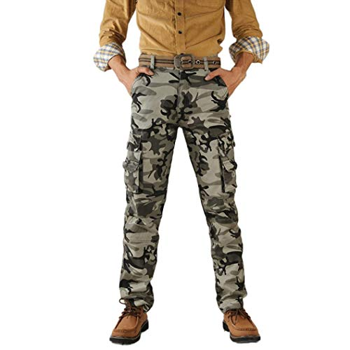 TEELONG Hosen Herren Freizeit Camouflage militärarmee Kampf im Freien Arbeit Hosen Cargo Pants Jogginghose Trainingshose Trainingsanzüge Overalls Fleece-Hose(38, Grau)