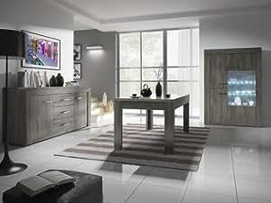 Salle à manger complète contemporaine PURGIA 2, coloris chêne noir, avec éclairage LED en option L 160 cm Avec Eclairage