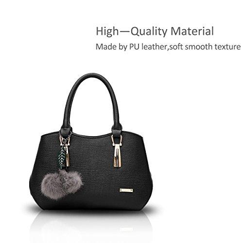 NICOLE&DORIS Le donne elegante maniglia superiore della borsa del messaggero della borsa della spalla del Tote casuale del lavoro Satchel Zipper Nero Nero