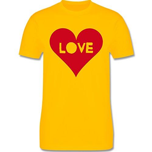 I love - Herz - Love - Herren Premium T-Shirt Gelb