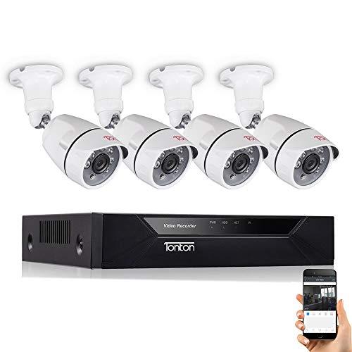 Tonton 1080P TVI Überwachungsset Videoüberwachung System 8CH HDMI DVR Recorder mit 4 x 2MP HD Weiß Überwachungskamera für Innen und Außen, Frengriff via APP Android/IOS