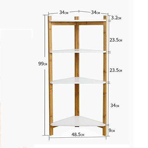Mensole duo scaffale ad angolo con 4 ripiani angolari in bambù ad angolo per soggiorno, cucina, bagno, doccia scaffali