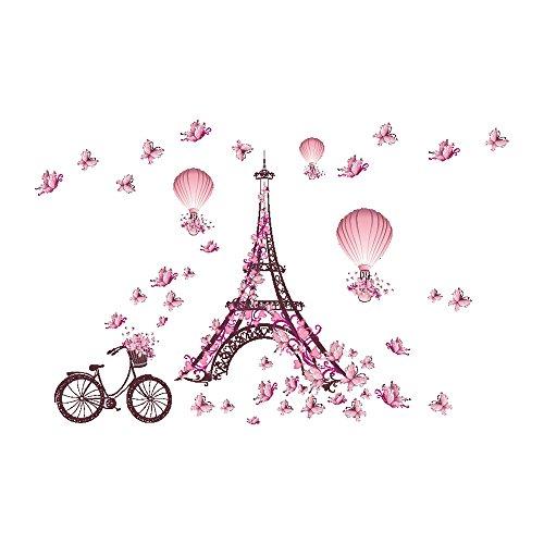 Winhappyhome Paris Aufsatz Rosa Schmetterlings Wand Kunst Aufkleber für Schlafzimmer Wohnzimmer Kaffeehaus Hintergrund Entfernbare Dekor Abziehbilder - Paris-wand-aufkleber