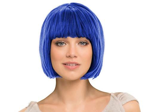 Alsino Karnevalsperücke Bob Perücke blau 28 cm Haarlänge Damen - elastisches Haarnetz, glatte Frisur