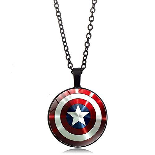 YinXX Captain America Halskette Arc Reactor Glas Cabochon Anhänger Halskette Silber überzogene Schmuckleuchtende Halskette Frauen,Black