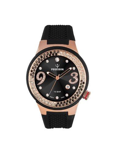 Poseidon-Kienzle - K2112033033-00426 - Montre Femme - Quartz Analogique - Cadran Noir - Bracelet Silicone Noir
