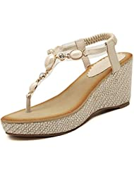 Minetom Femme Fille Perlé Chaussures Eté Sandales Compensées T Sangle Tongs Mode Été Des Sandales
