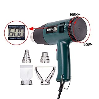 1800W Heat Gun,AIKOU 220V Adjustable Temperature Hot Air Gun with Digital Display Fast Heating Blower Kits for molding Plastics Removing Rusted Bolts or Softening Caulk Around The Sink(Green)