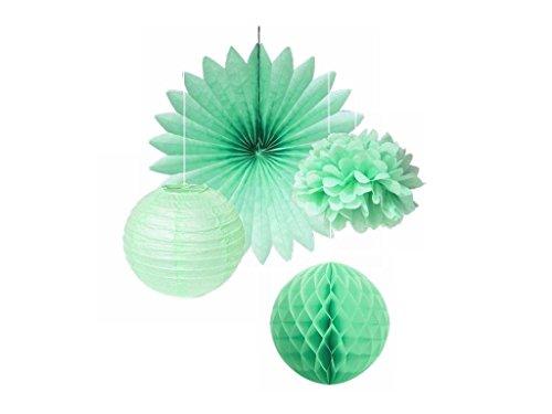 SUNBEAUTY Serie menta Pom Pom e ventagli di carta sfera Flower & Farol alveolari appendere le decorazioni per la festa nuziale di compleanno di bambino di Pasqua (Estilo 1)