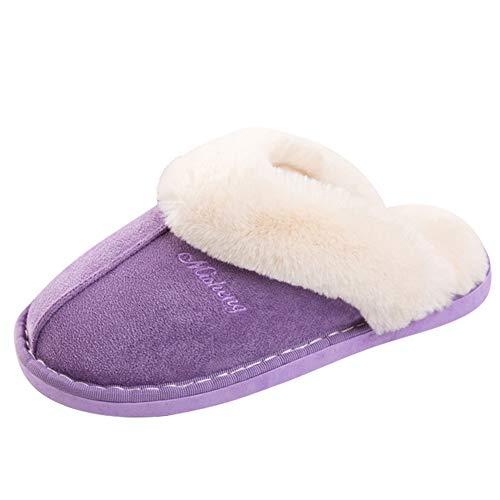 Pastaza Plüsch Hausschuhe Damen Warm Fell Pantoffeln Frauen Indoor Home Haus Slipper Rutschfest Gefüttert Winter Schuhe Violett, 37 EU=Herstellergröße 38