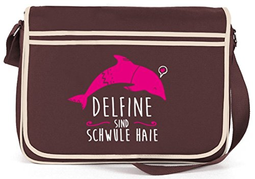 Shirtstreet24, Delfine sind schwule Haie, Natur Retro Messenger Bag Kuriertasche Umhängetasche Braun