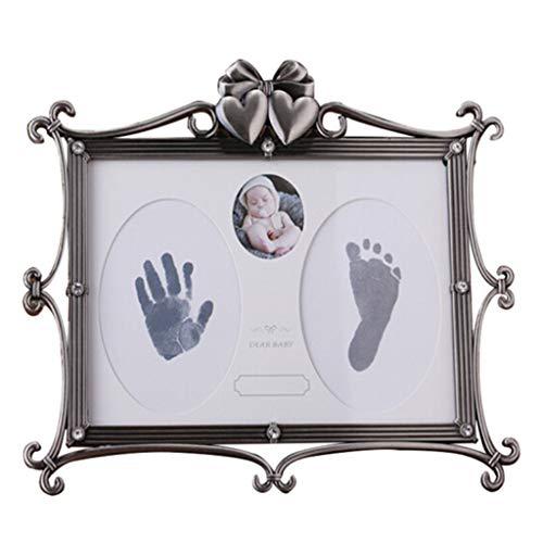 Baby Hand Print Kit und Footprint Frame Neugeborenes Baby Bad Taufe Geburtstag Silber Charme, sicher und einfach zu bedienen Große Baby-Dekoration Geschenk