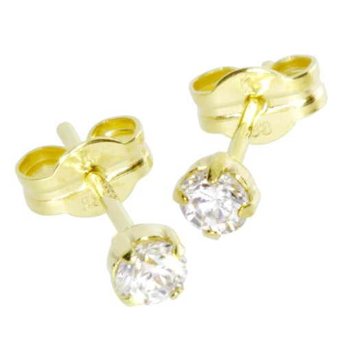 InCollections Damen-Ohrstecker 333/000 Gold mit Zirkonia weiss 0010160005401