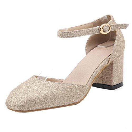 TAOFFEN Damen Elegant Blockabsatz Mid Heel Party Pumps Mit Schnalle Gold