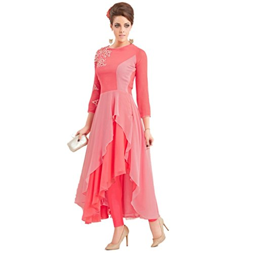 Kurti (Leriya Fashion Women\'s Georgette With Sentoon Inner Long sleeve Pink Color Anarkali Style Women Kurti)