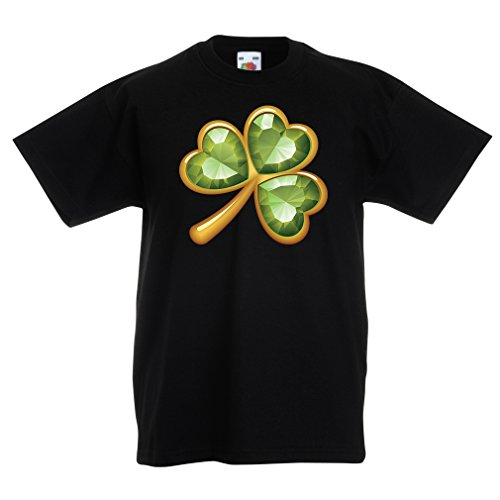 Kinder T-Shirt Irish shamrock St Patricks day clothing (12-13 years Schwarz (Girl Kostüme Country Dance)