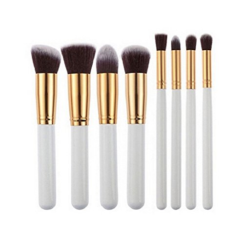Ularma 8 Pcs noir synthétique Kabuki plat Fondation brosse unique maquillage cosmétique