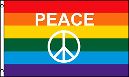 Rainbow Peace Sign Flagge 3x 150Poly - Poly Flag Banner