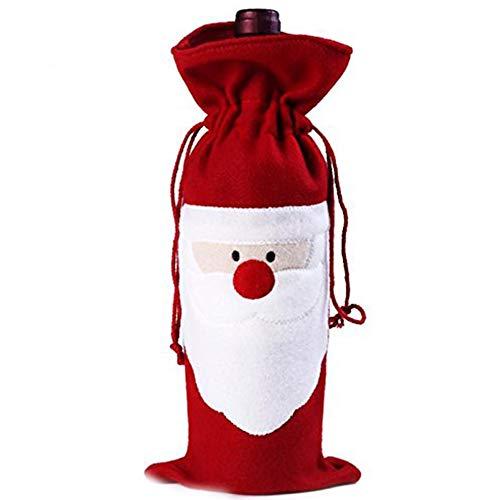 Ruiting bottiglia di vino di babbo natale decorazioni tavola di natale borsa porta bottiglie di vino rosso decorazione, flanella, red santa, 36