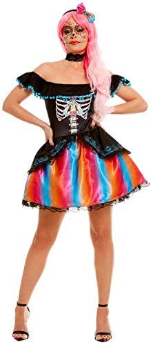 Halloweenia - Damen Frauen Day of The Dead Kostüm im Senorita Ombre Stil, Kleid mit Halsband und Kopfschmuck, perfekt für Halloween Karneval und Fasching, L, Schwarz