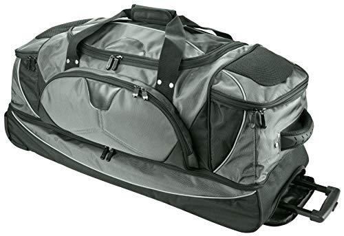 Reisetasche mit Trolley und Rucksack Funktion XL Doppeldecker 80x35x44cm Glanz Grau Polyester Dermata Bowatex