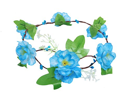 JTC Guirlande Couronne Floral Accessoire de Fête Mariage Bandeau de Cheveux Serre-tête Bleu