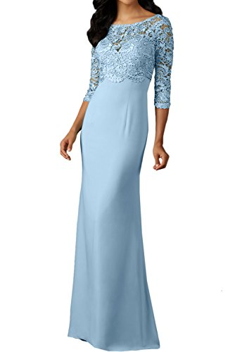 Ivydressing Damen 3/4 Arm Spitzenkleider Rundkragen Abendkleider lang Festkleid Ballkleid Promkleid Hellblau