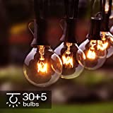 Lichterkette Außen, 35er G40 Lichterkette Glühbirne 11M/36FT Wasserdichte String Licht Garten Lichterkette für Innen Draussen, Party, Festival