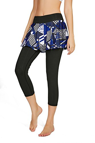 HonourSport Damen Capri Hose mit Rock Yoga Leggings 2-in-1