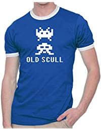 Old Scull Retro Space Invaders T Shirt Ringer Fashion Tee