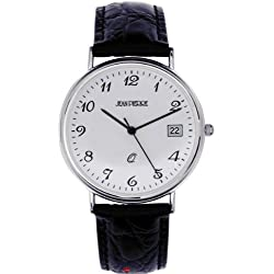 Gents Sterling Silver Wristwatch Standard Numerals Date Black Leather