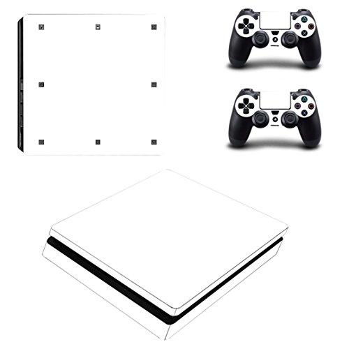 DOTBUY PS4 Slim Skin Aufkleber Sticker Design Folie schützende Haut Schale für Sony Playstation 4 Slim Konsole und 2 Dualshock Controller (All White)