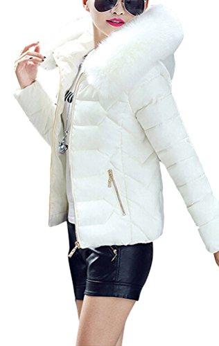 Brinny Damen Mantel Lange Winterjacke Steppjacke Kunstpelz Kapuzen Parka Lang Wintermantel Übergansjacke Mantel Jacke Fellkapuze Warmen Outerwear Fleecejacket 32 Weiß