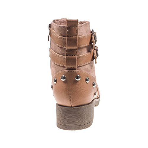 5064 Fashion4Young Damen Stiefel Stiefelette Ankle Boots Booties Schnürschuhe Lederimitat Apricot