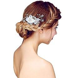 XY Fancy Damen Elegante Braut Haarkamm Silk Blumen Perlen Kristallkopfschmuck Hochzeits Schmcuk für Frauen, Weiß