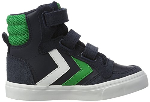 Hummel Stadil Leather Jr, Sneakers Hautes Mixte Enfant Bleu (Total Eclipse)