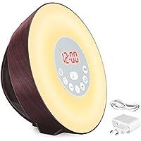 COULAX wake up light ,Radio FM, función de repetición con 10 adaptadores de brillo, 7 colores 6 sonidos simulación de caoba amanecer / atardecer
